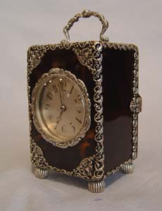 silver mounted tortoiseshell striking clock with piquet work