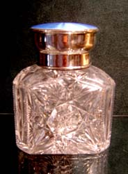 Massive English silver & enamel cut glass scent bottle.