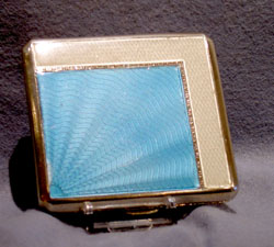 English Art Deco silver & guilloche enamel cigarette case