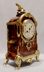 Antique English Victorian tortoiseshell & gilt bronze clock signed Mappin & Webb of London.