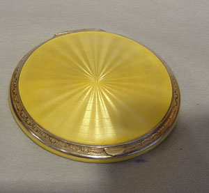 Antique silver and yellow guilloche enamel powder compact