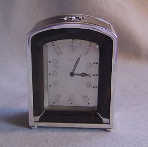 Antique Art Deco French silver and tortoiseshell 8 day carriage clock.
