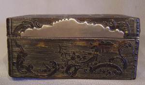English antique 18th century silver gilt and tortoiseshell chinese chippendale rococco oblong box.