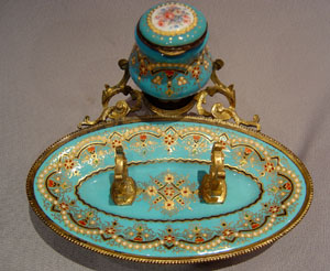 French antique jewelled enamel and gilt metal inkwell and penstand.