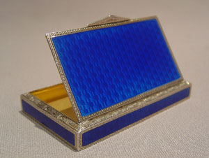 Continental silver and electric blue guilloche enamel box.
