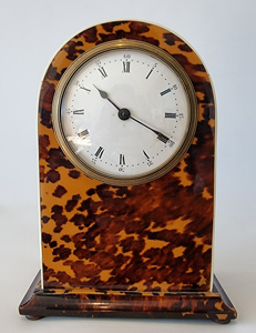 English ivory strung blond tortoiseshell mantel clock.