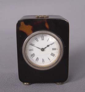 Tortoiseshell and silver gilt English Edwardian antique carriage clock dated 1905.