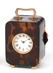 Antique gold mounted tortoiseshell miniature carriage clock.