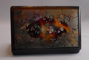 Antique tortoiseshell and gold and shell pique snuff box.
