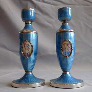 Pair silver and blue guilloche enamel rose vases with handpainted roses & framed portrait miniature.