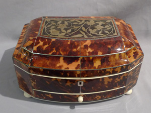 Antique tortoiseshell, ivory and silver sewing box.