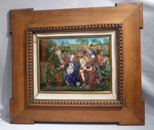 Fine Art Nouveau limoges enamel depiction of the Adoration of the Maji