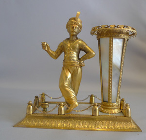 Antique Palais Royal mother-of-pearl and ormolu sealing wax and spill stand circa 1830.