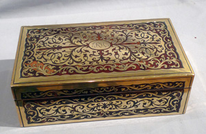 English Victorian rosewood and Boulle decorated box lined for cigars.