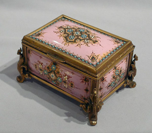 Jewelled enamel and gilt bronze jewellry casket.