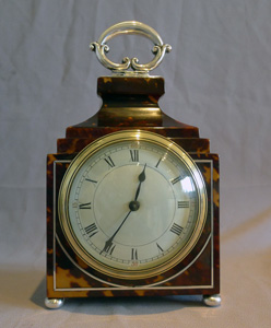 Antique English Edwardiian Tortoiseshell and silver mantel clock
