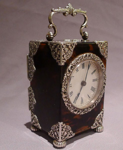 Antique tortoiseshell, silver and silver picque carriage clock