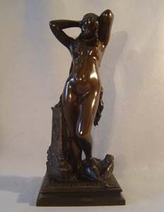 Antique French or Italian bronze of a nymph after Pradier.