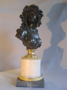 French antique bronze bust of lady on marble base after Joseph Marin.