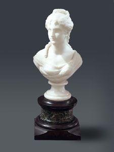 Antique marble bust of young girl signed Hagen.