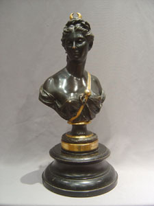 Antique patinated and parcel gilt bronze of Diana after Houdon.