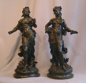 Pair Auguste Moreau patinated bronze figures of Greek Godesses