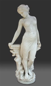 Fine ltalian late 19th century Romantic marble of young girl leaning against a bench.