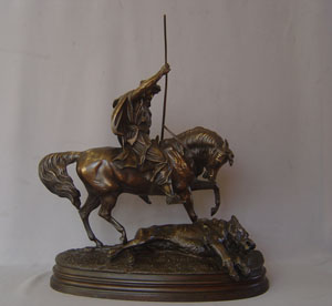 Orientalist bronze of Arab horseman with his kill signed Waagen.
