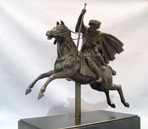 Antique Orientalist bronze of man on horseback