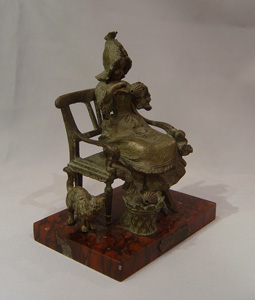 Antique Austrian bronze of girl in a chair, La Devideuse par Maxim.