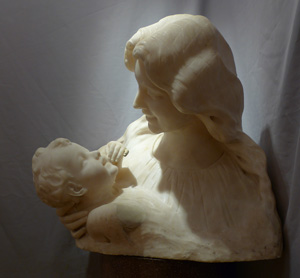 Antique Italian marble bust of mother and child.