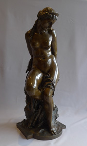 Antique bronze of Andromeda in chains by Alexandre-Pierre Schoenewerk.