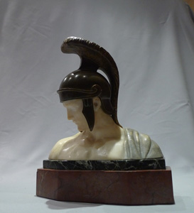 Alabaster, bronze and marble bust of an Ancient greek warrior.