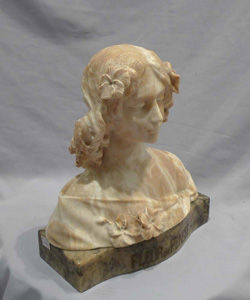 Antique marble and alabaster bust of a maiden titled