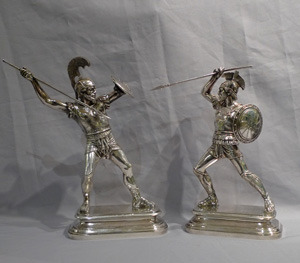 Pair silvered bronze gladiators signed E. Guillemin.
