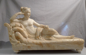 Antique sculpture of Pauline de Borghese, Napoleon Bonaparte's sister after Canova's original.