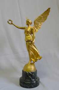 Gilt bronze sculpture of Victory by Marquesta and Barbedienne foundry.