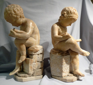 Antique Italian pair of alabaster sculptures of a boy and a girl after Canova.