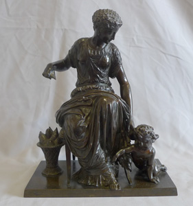 Antique French patinated bronze group of woman and cupid by Jean Jules Salmson.