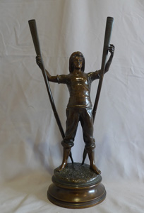 Antique French bronze of a young lifeboatman or gig rower signed Antoine Bofill