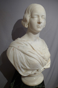 Marble bust of Queen Victoria signed E.H.Baily RA London 1847