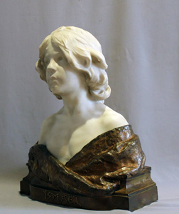 Antique Carrera marble and bronze bust of young boy titled Ismael by Aug. Moreau.