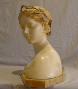 Posie antique carved white marble and gilt bronze mounted bust by Prof. Antonio Garella.