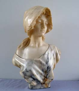 Antique Italian alabaster sculpture of a young girl signed Pugi