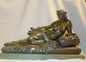 Fine antique bronze of Cleopatra with Asp on a green marble base