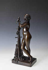 Antique bronze of a beautiful  nude girl titled Lesbie.