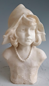 Antique White Carrera Marble Bust of a Girl Wearing a Bonnet