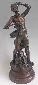 Antique Bronze Sculpture depicting a  miner signed by Jean-Baptiste Germain