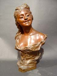 Antique Art Nouveau Two Tone Patinated Bronze Bust of a Young Girl.