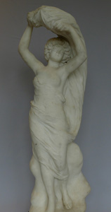 Marble sculpture Art Nouveau Italian antique of Beatrice signed Gazzeri.